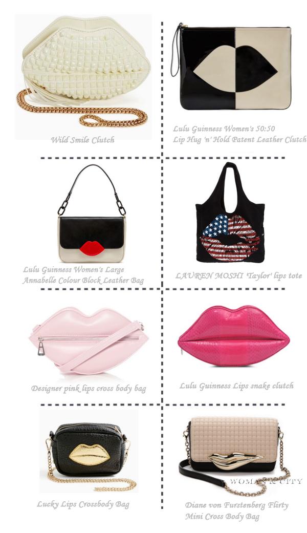 Lip-print handbags and clutches